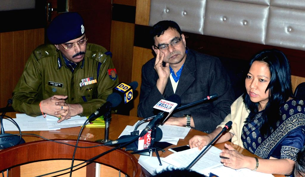 L. S. Changsan, Commissioner & Secretary, Home and P. K. Tiwari, Chief Executive Officer, Assam State Disaster Management Authority and S. N Singh IGP Law and Order, addresses a press ..