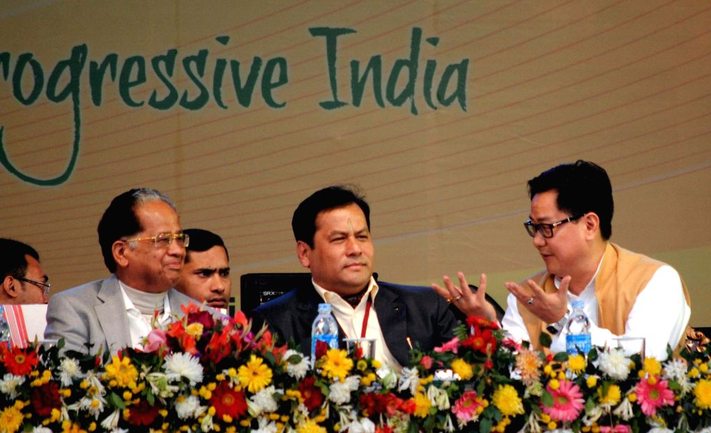 Minister of State for Home Affairs Kiren Rijiju,  Union Minister of State for Youth Affairs and Sports (Independent Charge), Sarbananda Sonowal and Tarun Gogoi at the inauguration of 19th ..