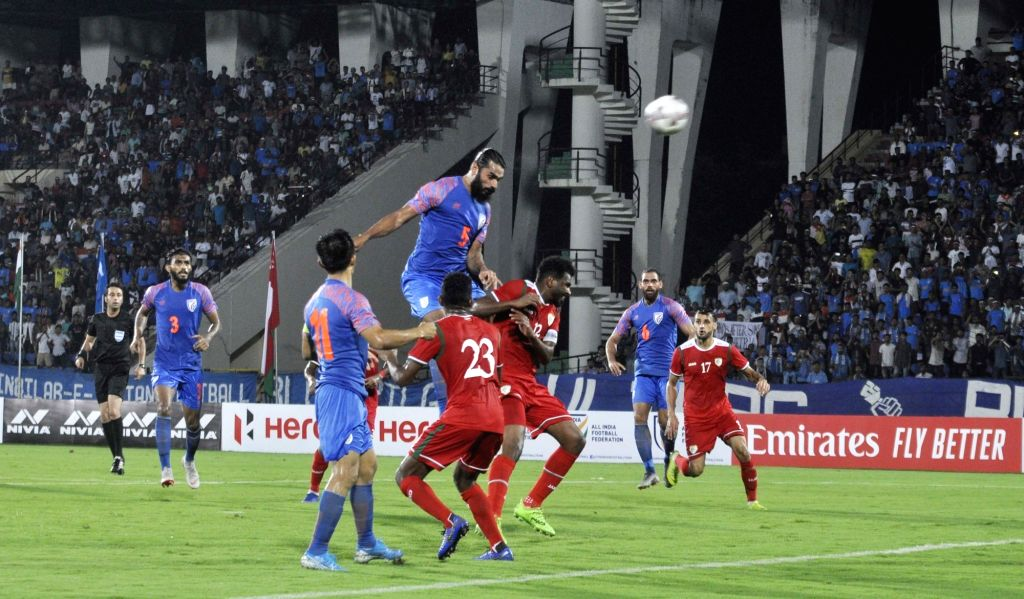 Guwahati: Players in action during 2022 FIFA World Cup Qualifier match between India and Oman at the Indira Gandhi Athletic Stadium in Guwahati on Sep 5, 2019. (Photo: IANS)