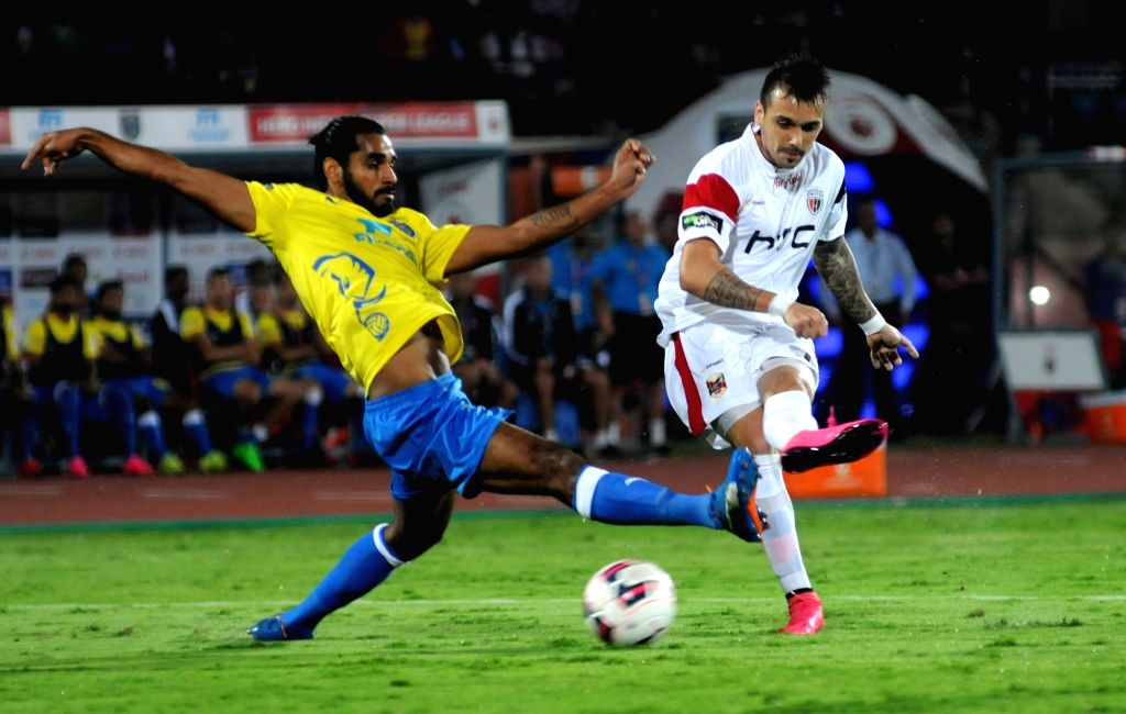 :Guwahati: Players in action during an ISL match between North-East United FC and Kerala Blasters FC in Guwahati on Nov 15, 2015. (Photo: IANS).