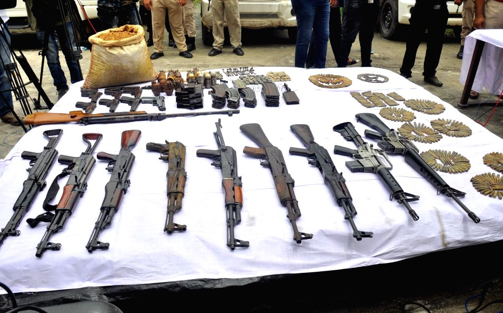 Guwahati Police and Udalguri police display a  huge cache of arms and ammunition recovered  from Udalguri late on Thursday night based on specific intelligence inputs, at a press conference on the ...