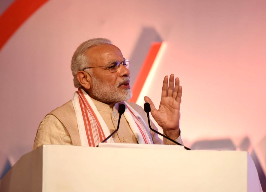 :Guwahati: Prime Minister Narendra Modi addresses at the inaugural session of Advantage Assam- Global Investors Summit 2018 in Guwahati on Feb 3, 2018. (Photo: IANS/PIB).