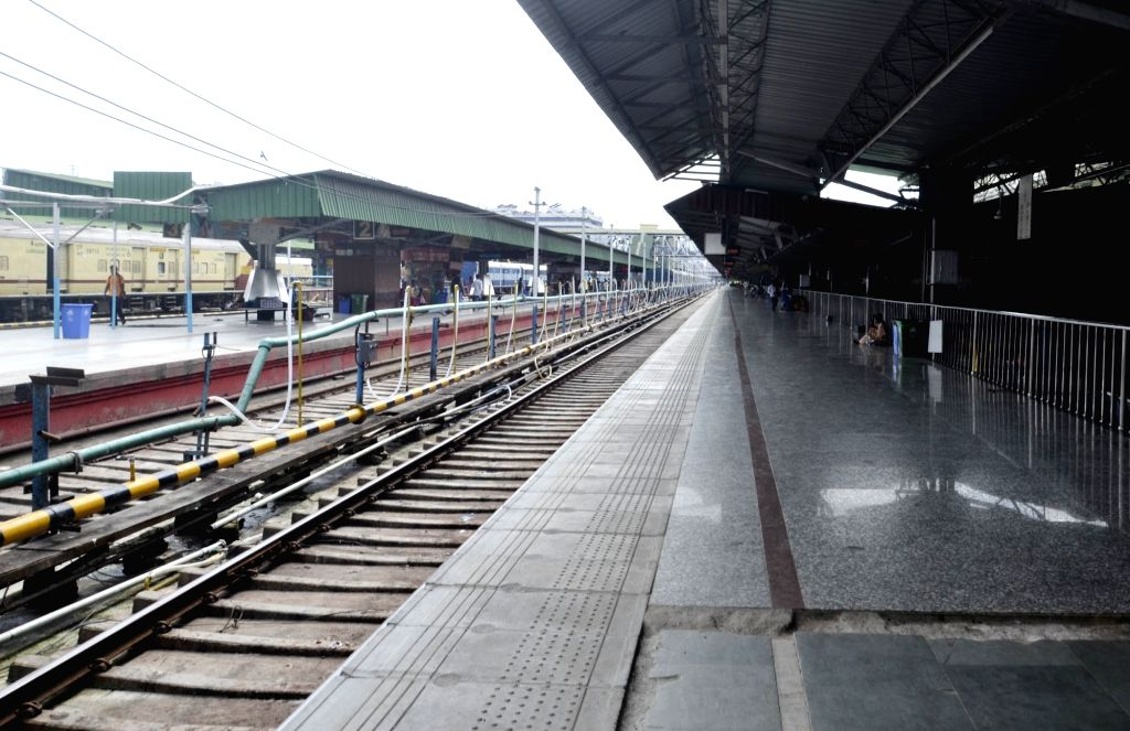 Guwahati Railway Station wears a deserted look after several connecting trains were cancelled due to floods in Assam, on July 25, 2019.