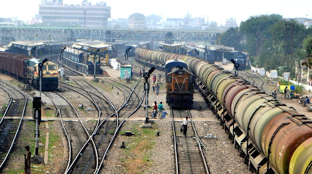 rains near Guwahati railway station on Feb 26, 2015. Union Railways Minister Suresh Prabhakar Prabhu Thursday presented the Railway Budget 2015-16 at the Parliament. - Suresh Prabhakar Prabhu Thursday