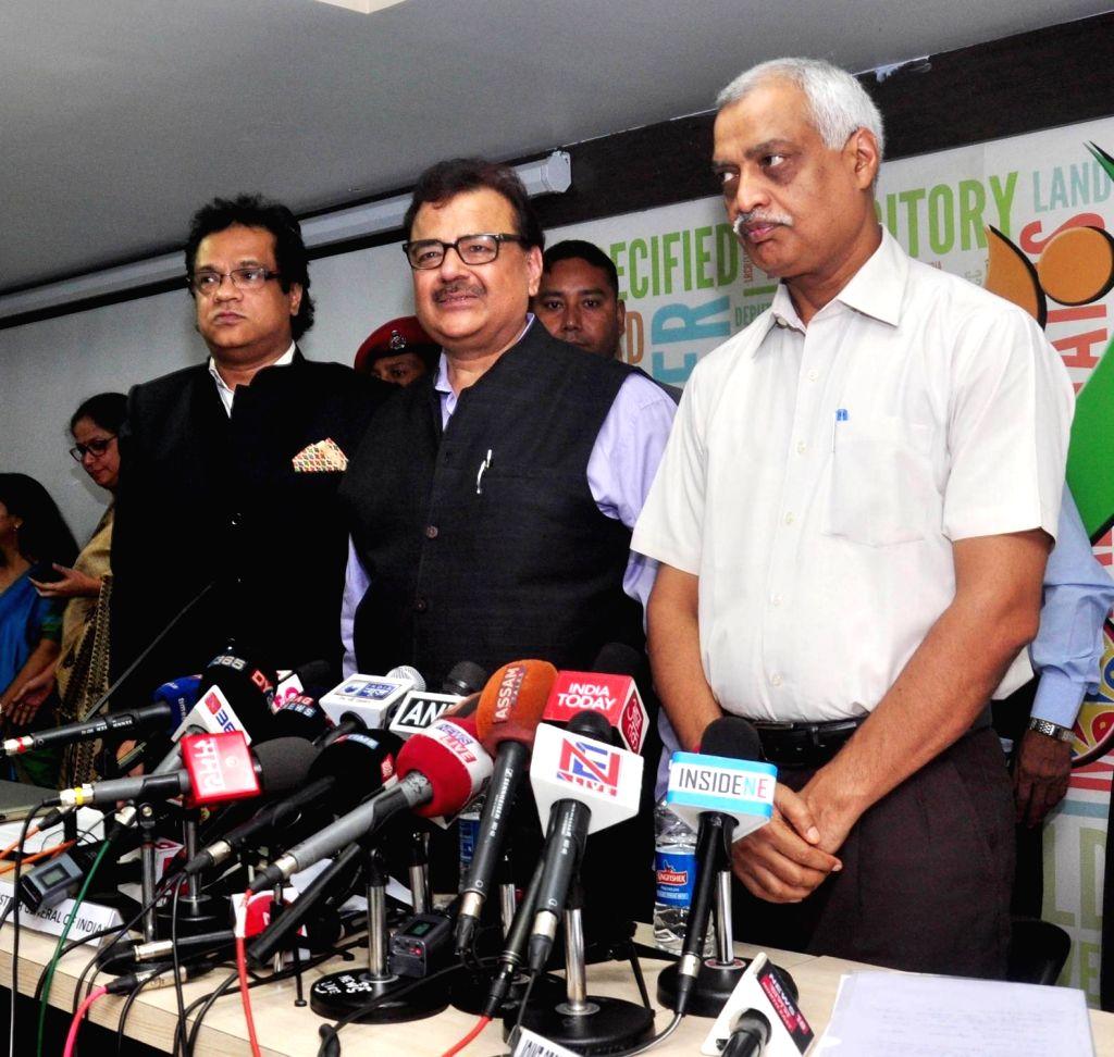 :Guwahati: Registrar General of India (RGI) Sailesh (C), Union Home Secretary (NE) Satyendra Garg (R) and National Register of Citizens (NRC) State Coordinator, Prateek Hajela during a press ...