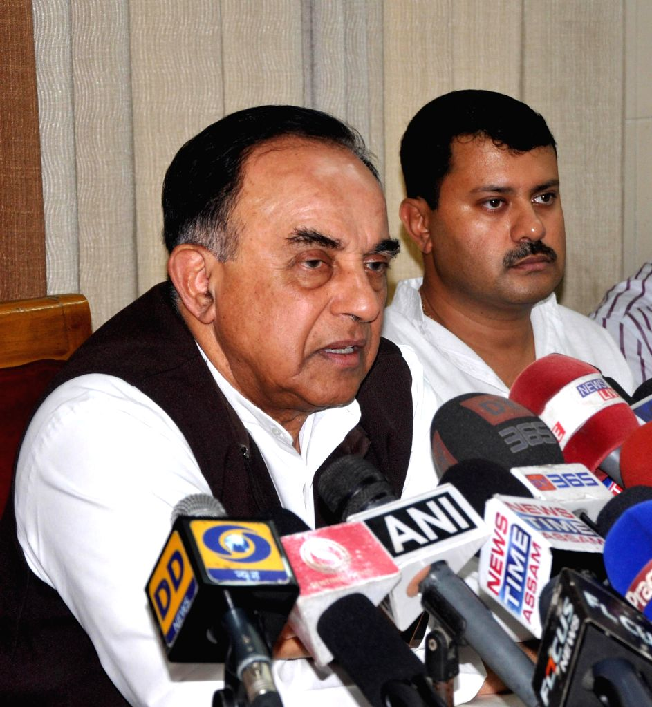Senior BJP leader and MP Subramaniam Swami addresses a press conference organised by Patriotic Social Media in Guwahati on Nov 22, 2014.