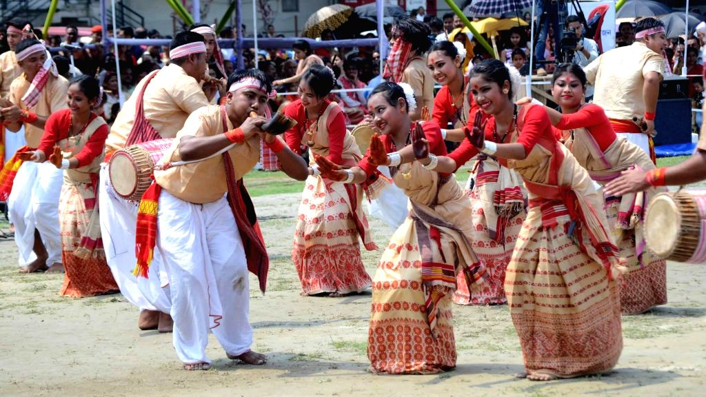 ":Guwahati: Students perform Bihu dance during ""Rongali Bihu"" celebrations in Guwahati on April 14, 2018. (Photo: IANS)."