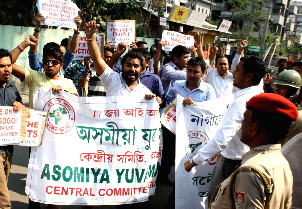 The activists of Asomiya Yuva Manch and All Assam Unnayan Parishad stage a protest against the brutal killing of an Assamese man in Dimapur, in Guwahati on March 7, 2015.