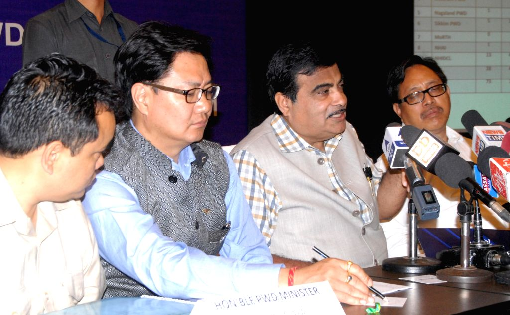 The Union Minister for Road Transport and Highways, and Shipping Nitin Gadkari addresses during a review meeting attended by northeastern CM`s and PWD Ministers of northeast in Guwahati on ...