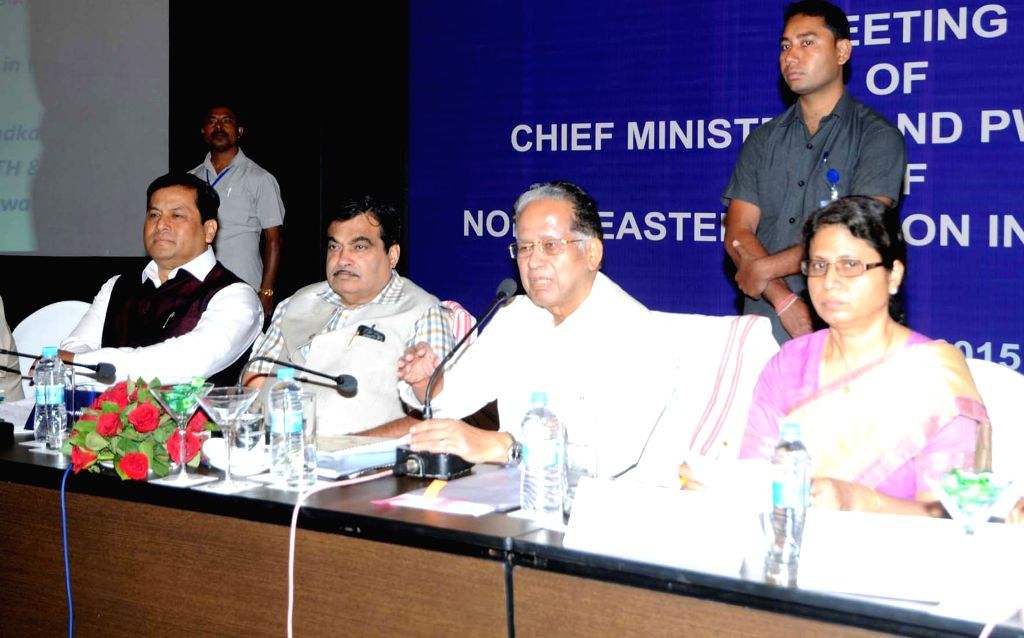 The Union Minister for Road Transport and Highways, and Shipping Nitin Gadkari and Assam Chief Minister Tarun Gogoi during a review meeting attended by northeastern CM`s and PWD Ministers ... - Tarun Gogoi