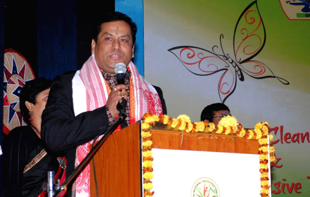 The Union Minister of State for Youth Affairs and Sports (Independent Charge), Sarbananda Sonowal addresses during 19th National Youth Festival 2015  in Guwahati on Jan 11, 2015.