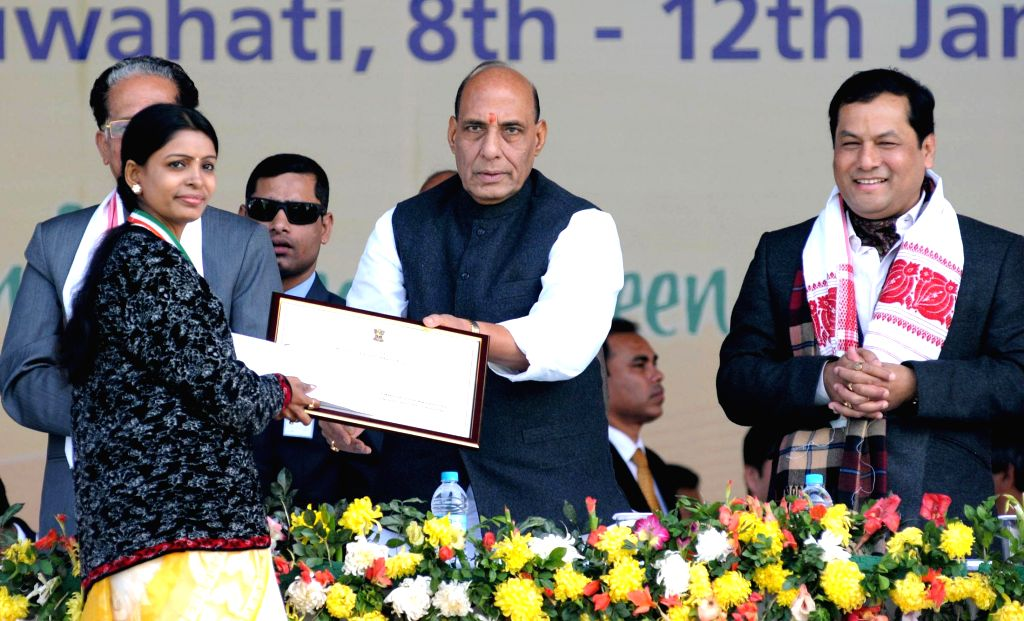 Union Home Minister Rajnath Singh during the closing ceremony of the 19th National Youth Festival, in Guwahati on Jan 12, 2015. Also seen Union Minister of State for Youth Affairs and ...