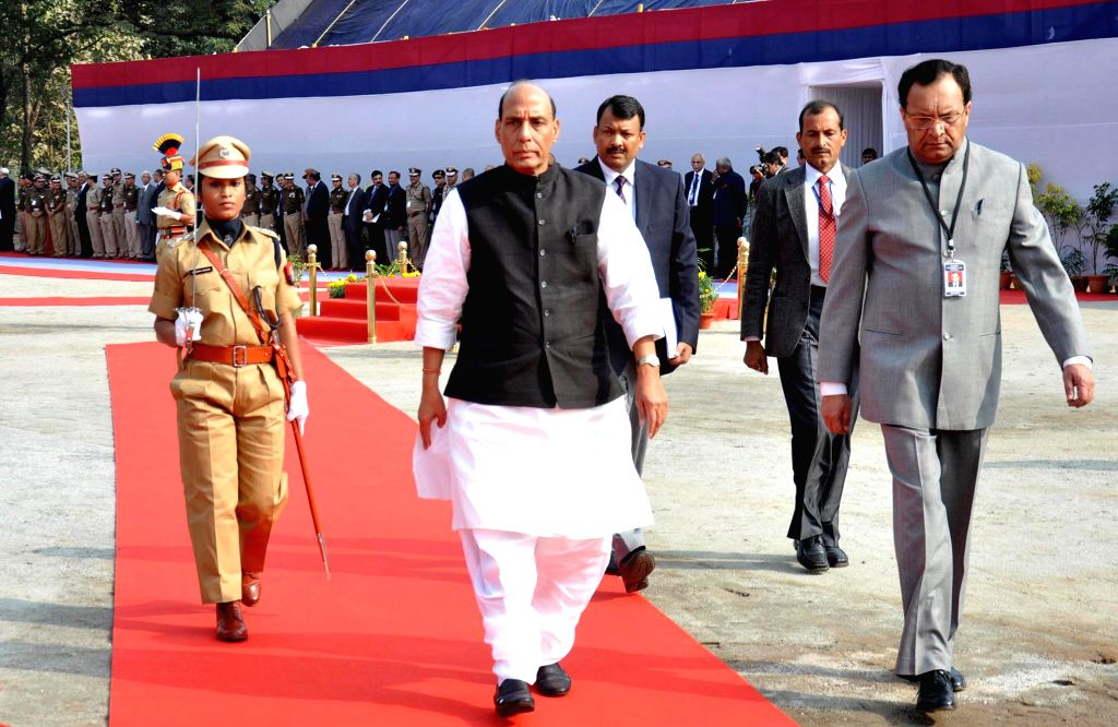 Union Home Minister Rajnath Singh's inspecting the parade while arrives for the inaugural programme of All India conference of Director General/Inspectors General of Police in Guwahati on ..