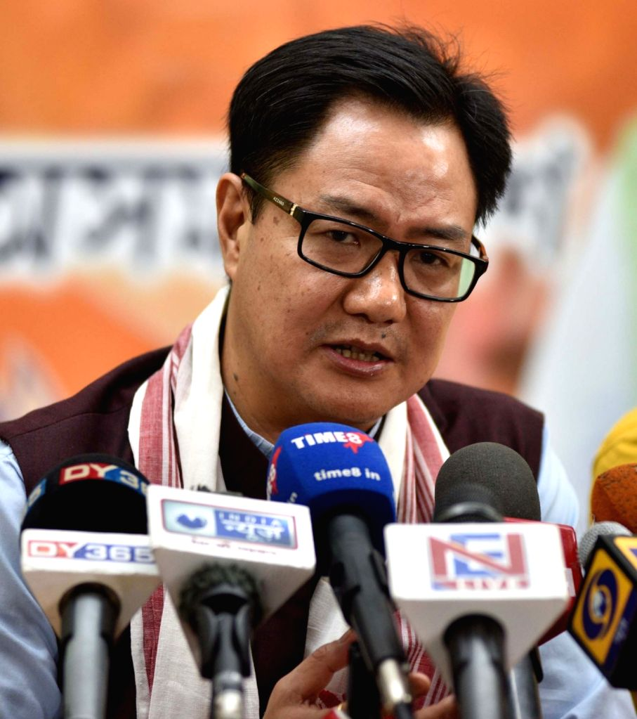 Guwahati: Union MoS Home Affairs and BJP leader Kiren Rijiju addresses a press conference at the party office in Guwahati on April 7, 2018. (Photo: IANS)