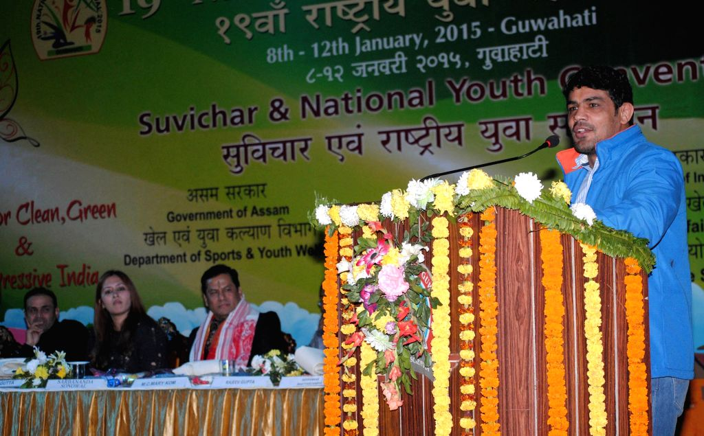 Wrestler Sushil Kumar  addresses during 19th National Youth Festival 2015  in Guwahati on Jan 11, 2015.