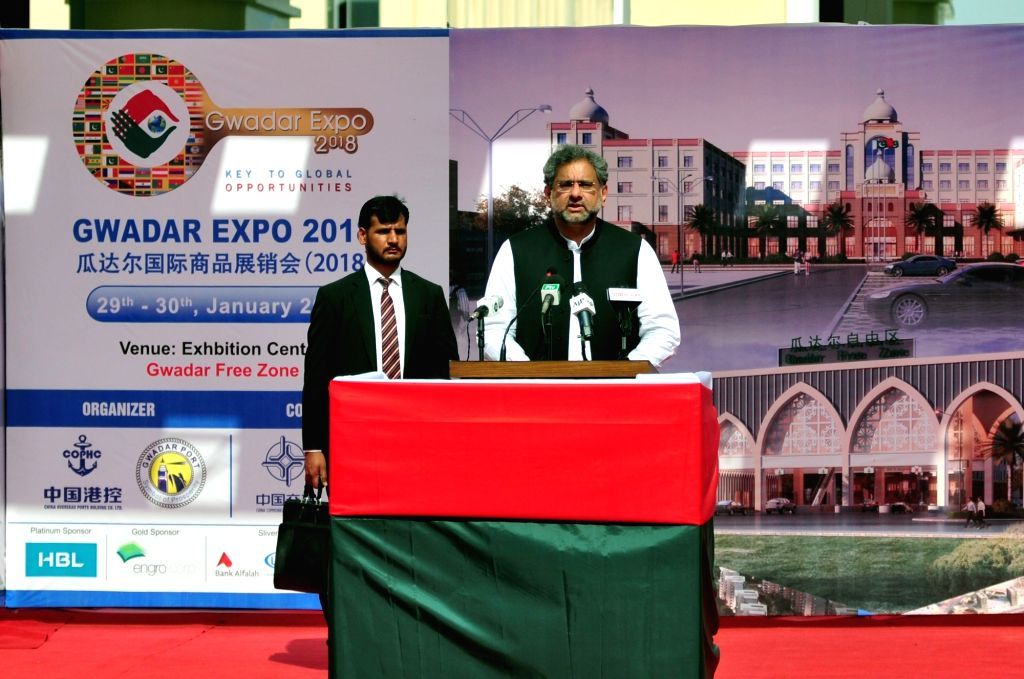 GWADAR, Jan. 29, 2018 - Pakistani Prime Minister Shahid Khaqan Abbasi (front) addresses during the inauguration ceremony of first phase of Gwadar Port's Free Zone in southwest Pakistan's Gwadar on ... - Shahid Khaqan Abbasi