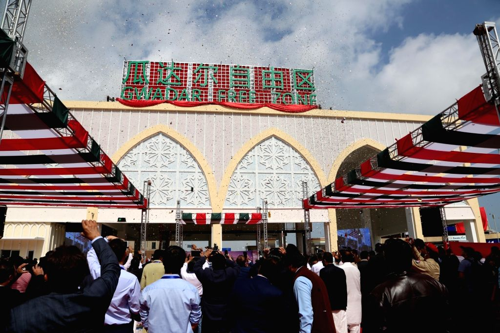GWADAR, Jan. 29, 2018 - People attend the inauguration ceremony of first phase of Gwadar Port's Free Zone in southwest Pakistan's Gwadar on Jan. 29, 2018. The first phase of Gwadar Port's Free Zone ... - Shahid Khaqan Abbasi