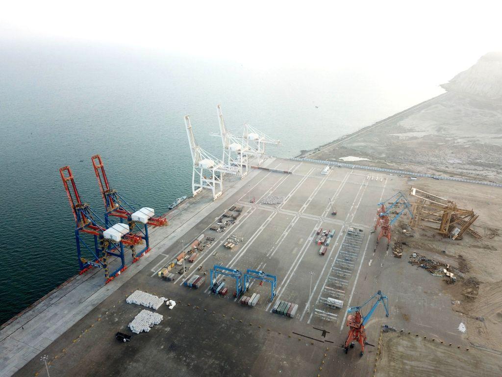 GWADAR, Jan. 29, 2018 - Photo taken on Jan. 29, 2018 shows a view of Gwadar port in southwest Pakistan's Gwadar. The first phase of Gwadar Port's Free Zone in southwestern Pakistan was inaugurated on ... - Shahid Khaqan Abbasi