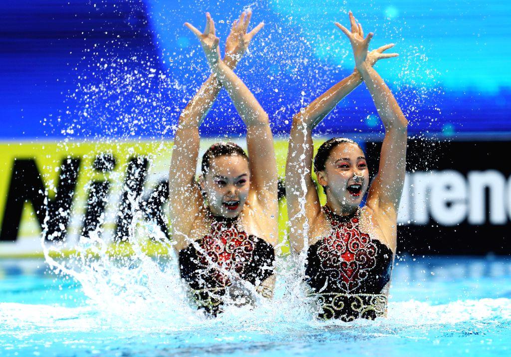 GWANGJU, July 16, 2019 - Huang Xuechen/Sun Wenyan (R) of China compete during the women's duet free preliminary competition at the Gwangju 2019 FINA World Championships in Gwangju, South Korea, July ...