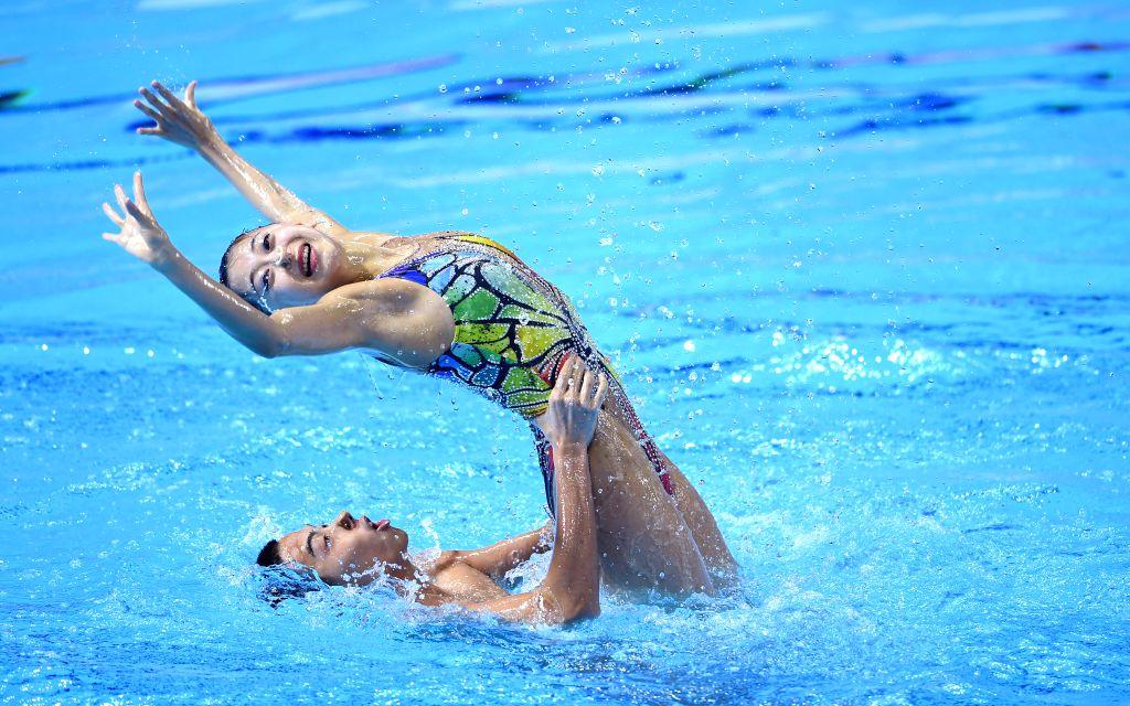 GWANGJU, July 19, 2019 - China's Shi Haoyu(bottom)/Cheng Wentao compete during the mixed duet free preliminary match of artistic swimming at the Gwangju 2019 FINA World Championships in Gwangju, ...