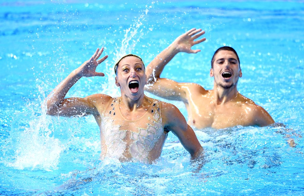 GWANGJU, July 19, 2019 - Italy's Manila Flamini(L)/Giorgio Minisini compete during the mixed duet free preliminary match of artistic swimming at the Gwangju 2019 FINA World Championships in Gwangju, ...