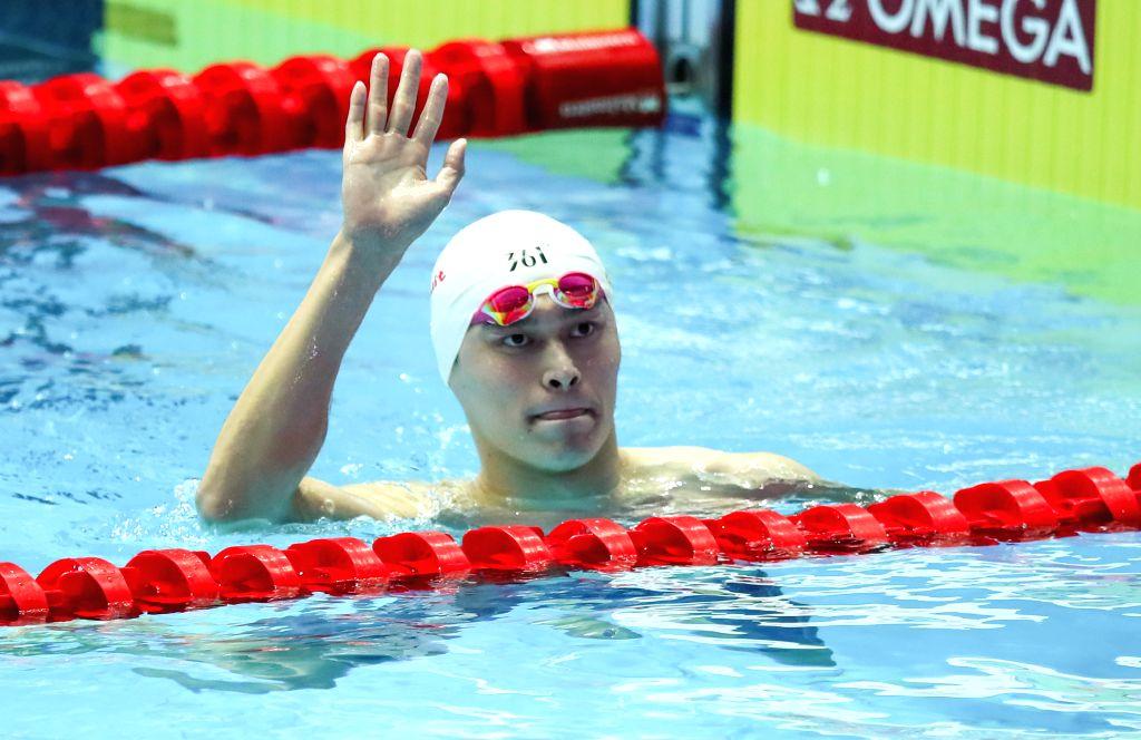 GWANGJU, July 22, 2019 - Sun Yang of China celebrates after the men's 200m freestyle semifinal at the Gwangju 2019 FINA World Championships in Gwangju, South Korea, July 22, 2019. (Xinhua/Bai ...