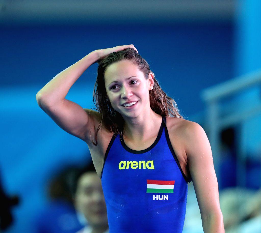 GWANGJU, July 25, 2019 - Gold medalist Boglarka Kapas of Hungary reacts after the women's 200m butterfly final at the Gwangju 2019 FINA World Championships in Gwangju, South Korea, on July 25, 2019.