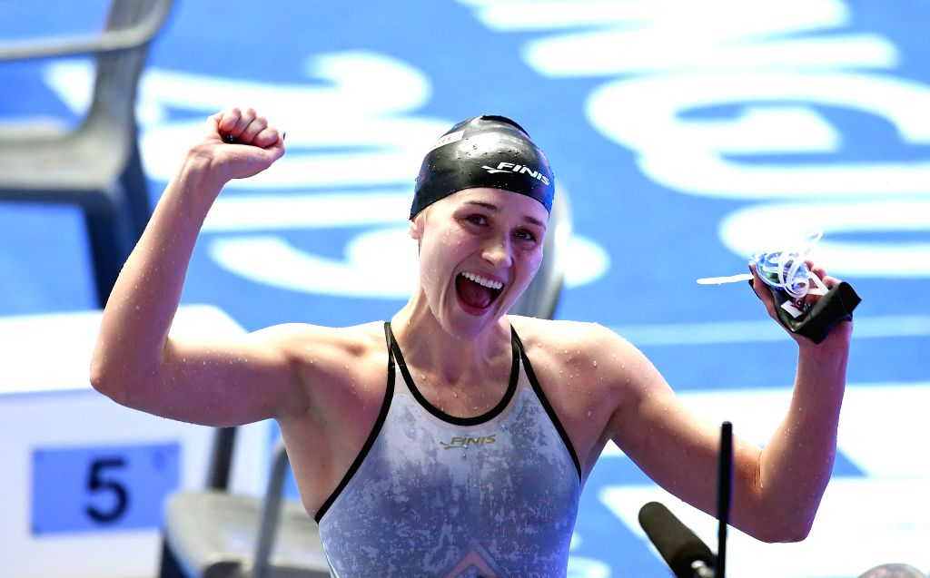 GWANGJU, July 25, 2019 - Gold medalist Olivia Smoliga of the United States celebrates after the women's 50m backstroke final at the Gwangju 2019 FINA World Championships in Gwangju, South Korea, July ...