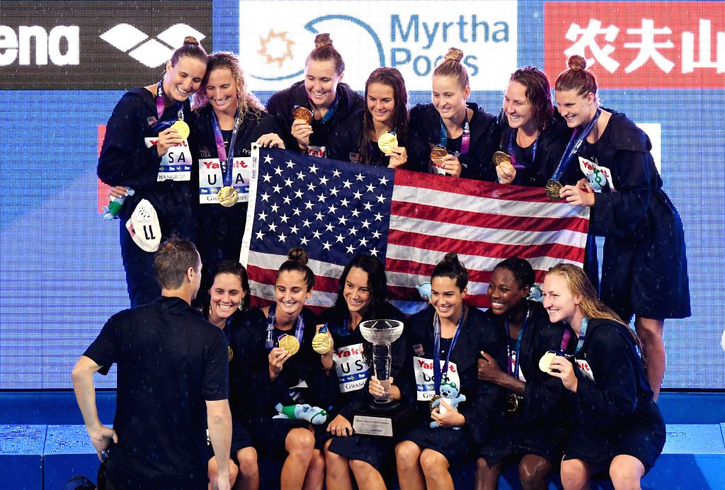 GWANGJU, July 26, 2019 - Gold medalists of the United States pose during the awarding ceremony of the women's waterpolo final between the United States and Spain at FINA World Championships in ...