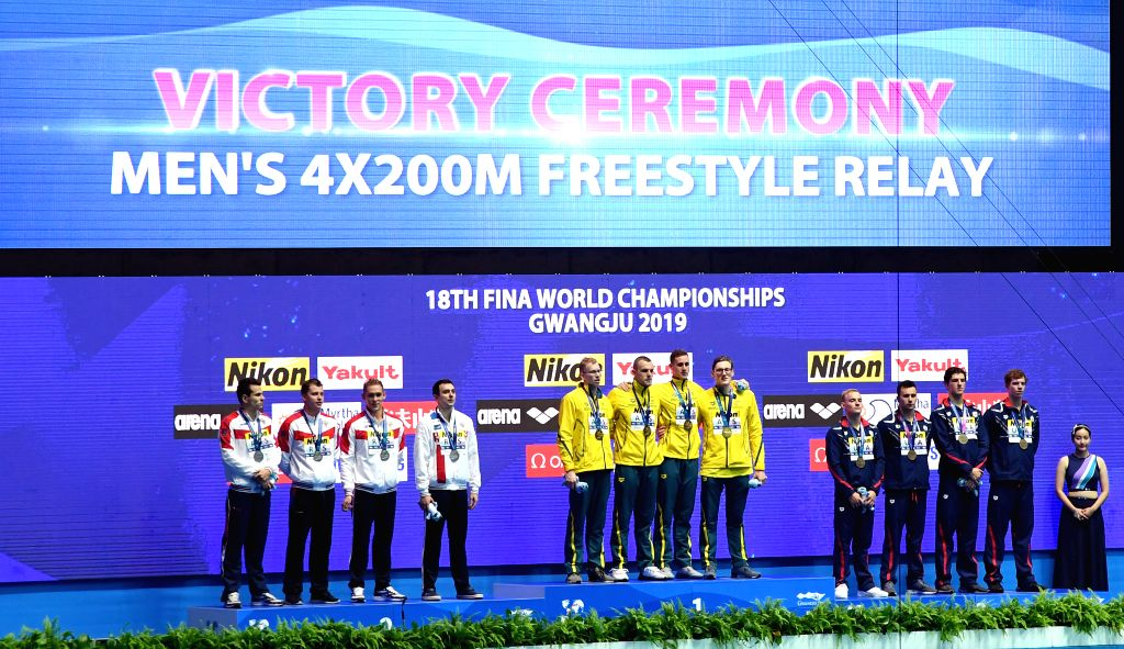 GWANGJU, July 26, 2019 - Gold medalists, team of Australia (C), silver medalists, team of Russia (L) and bronze medalists, team of the United States pose during the awarding ceremony of the men's ...