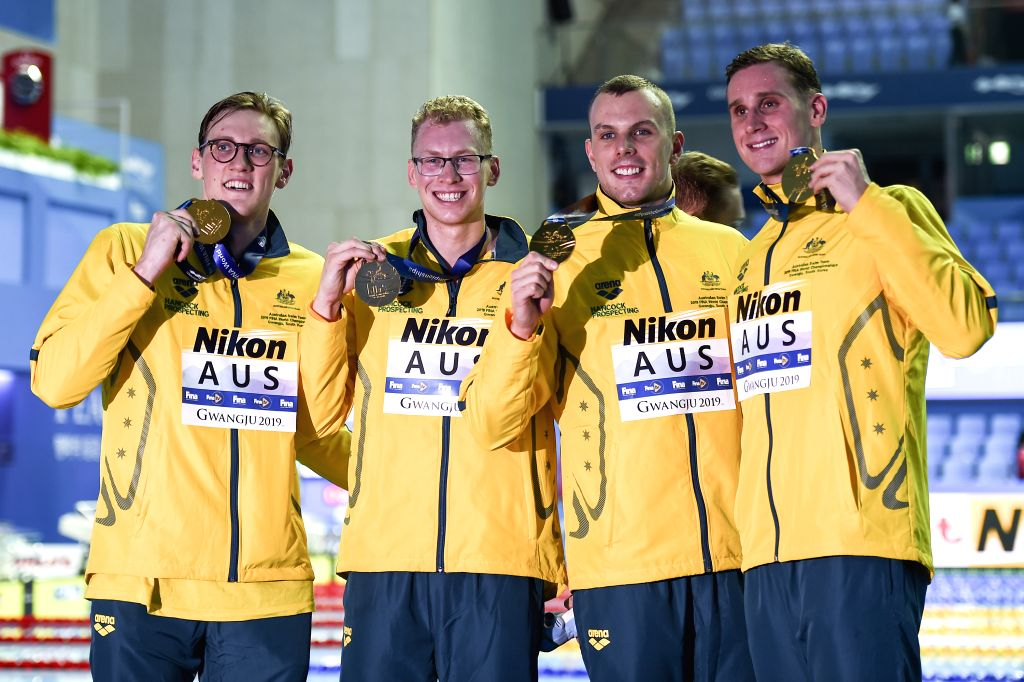 GWANGJU, July 27, 2019 - Gold medalists, team of Australia pose with medals after the men's 4x200m freestyle relay final at FINA World Championships in Gwangju, South Korea, on July 26, 2019.