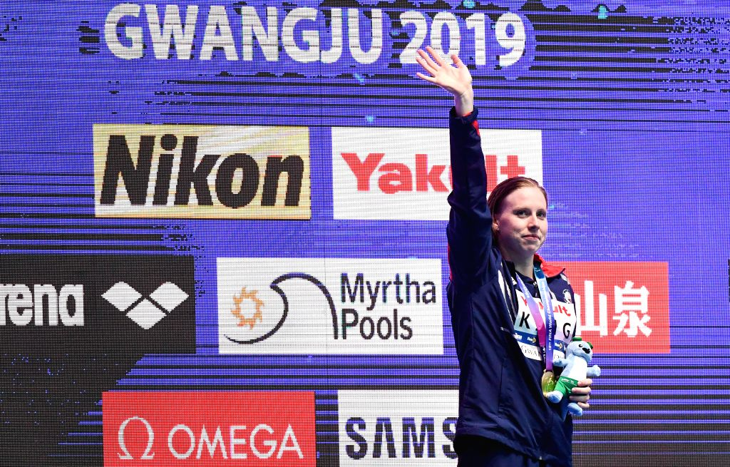 GWANGJU, July 28, 2019 - Gold medalist Lilly King of the United States reacts during the awarding ceremony of the women's 50m breaststroke final at the Gwangju 2019 FINA World Championships in ...