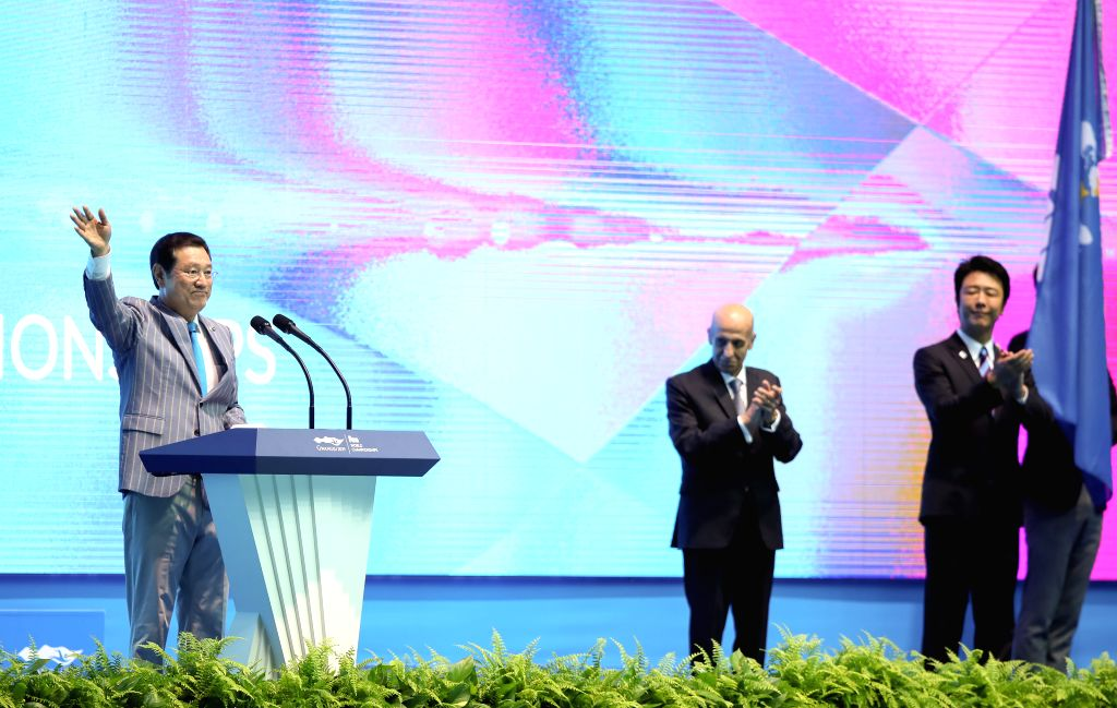 GWANGJU, July 28, 2019 - Lee Yong-seop (1st L), mayor of Gwangju speaks during the closing ceremony of the Gwangju 2019 FINA World Championships in Gwangju, South Korea, July 28, 2019.
