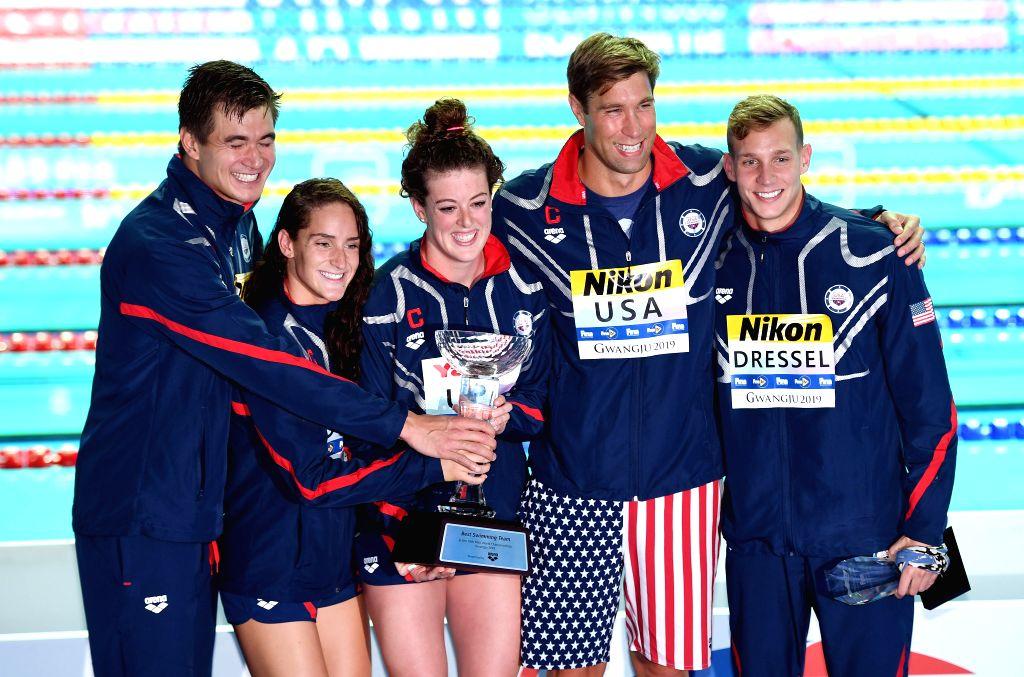 GWANGJU, July 28, 2019 - The best swimming team, members of Team U.S. pose for photos at the Gwangju 2019 FINA World Championships in Gwangju, South Korea, on July 28, 2019.