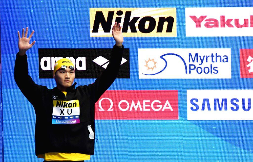GWANGJU, July 28, 2019 - Xu Jiayu of China reacts before the men's 50m backstroke final at the Gwangju 2019 FINA World Championships in Gwangju, South Korea, July 28, 2019. (Xinhua/Bai Xuefei/IANS