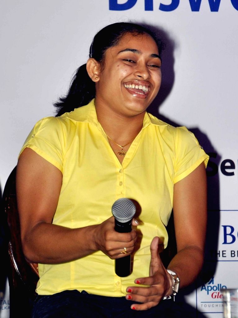 Gymnast Dipa Karmakar during a felicitation programme organised by The Bengal Chamber of Commerce and Industry in Kolkata on Sept 19, 2016.