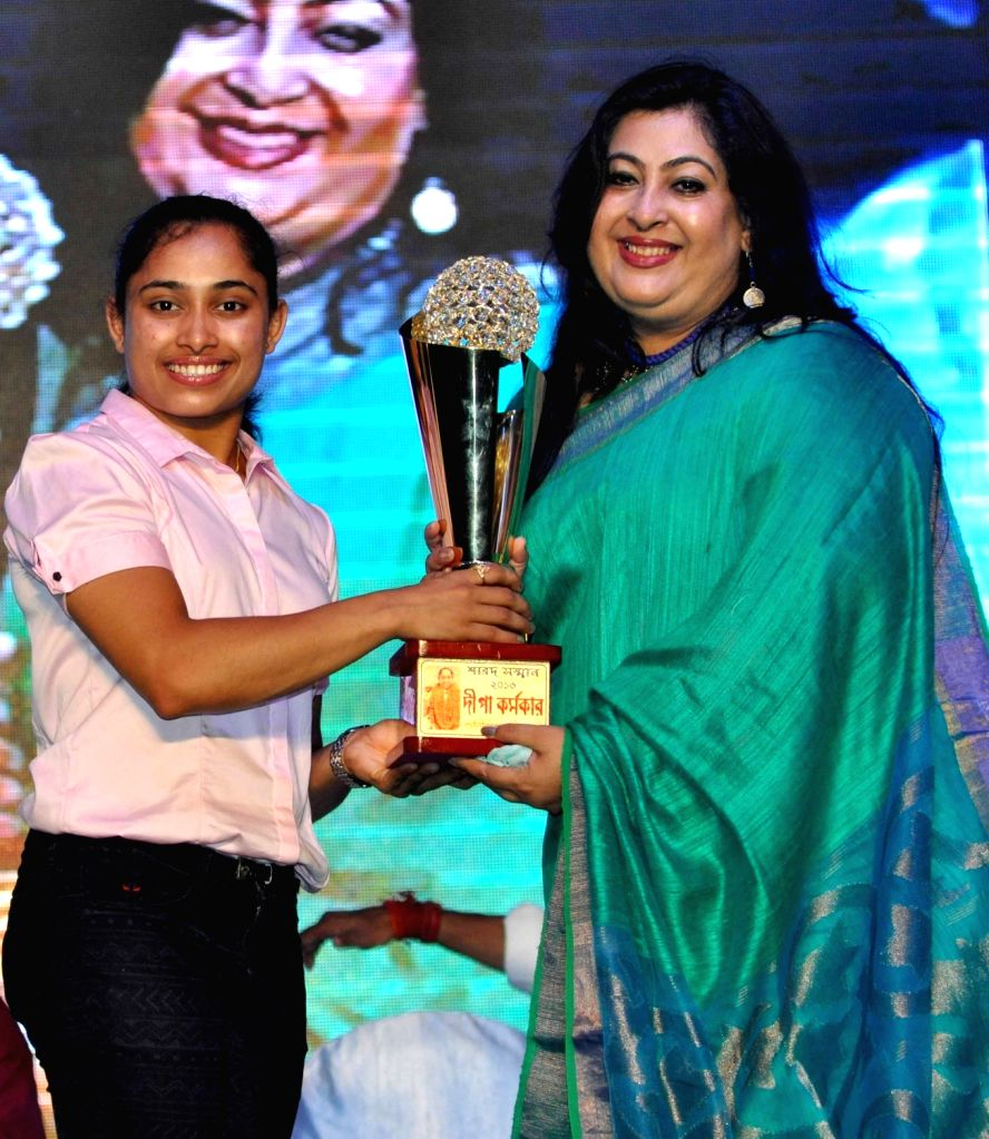 Gymnast Dipa Karmakar during a programme organised to felicitate her  in Kolkata, on Sept 18, 2016.