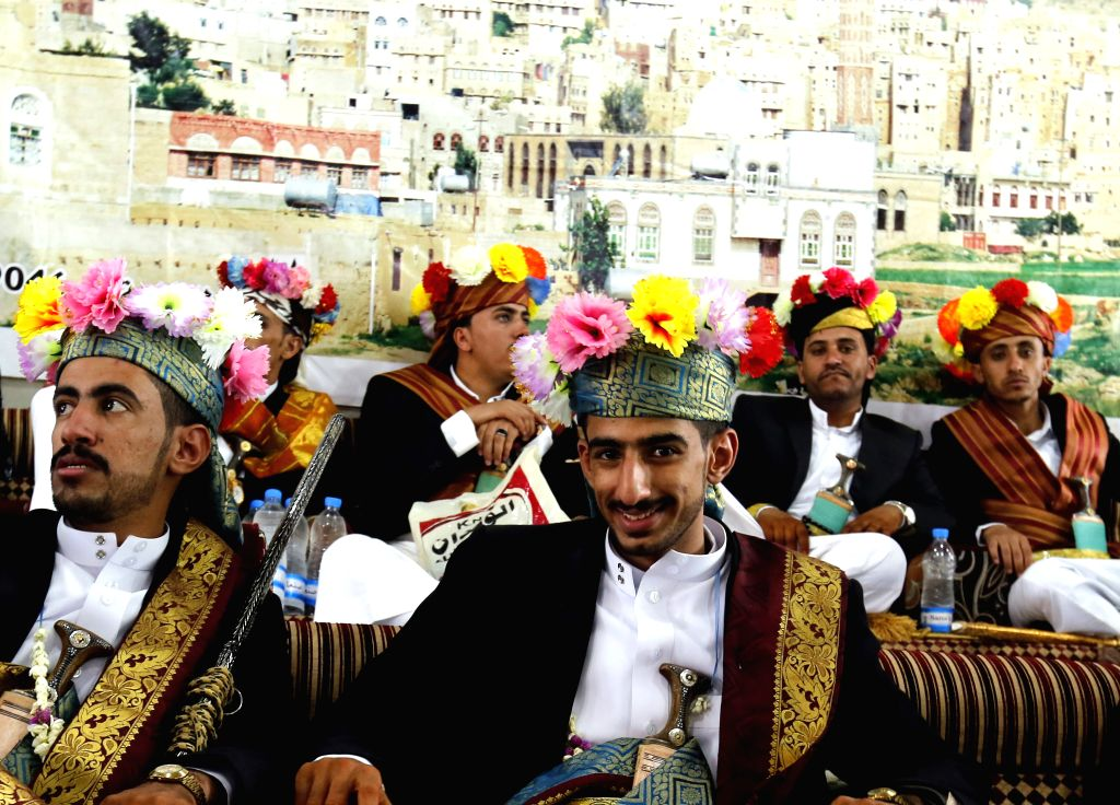 HABABA (YEMEN), Aug. 29, 2019 Yemeni grooms attend a mass wedding ceremony in Hababa district of Mahwit Province, Yemen, on Aug. 29, 2019. A total of 55 Yemeni grooms participated in the ...