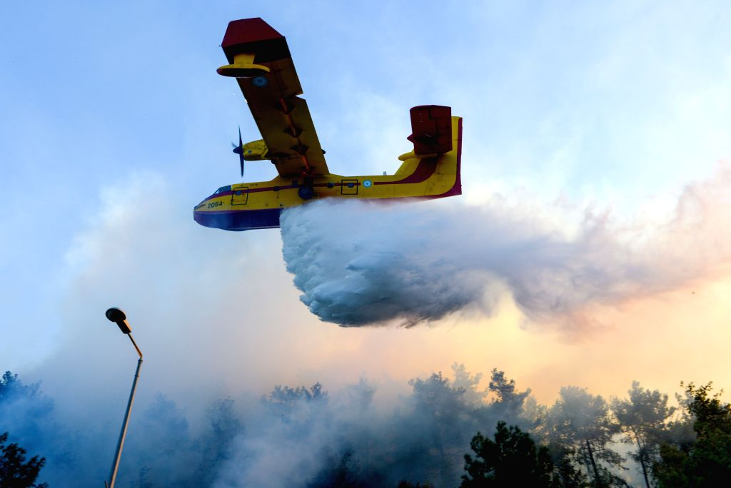 HAIFA, Nov. 25, 2016 - A plane tries to extinguish a fire in Haifa, Israel, Nov. 24, 2016. Fires on Thursday forced a widespread evacuation in Haifa. Tens of thousands of residents were forced to ...