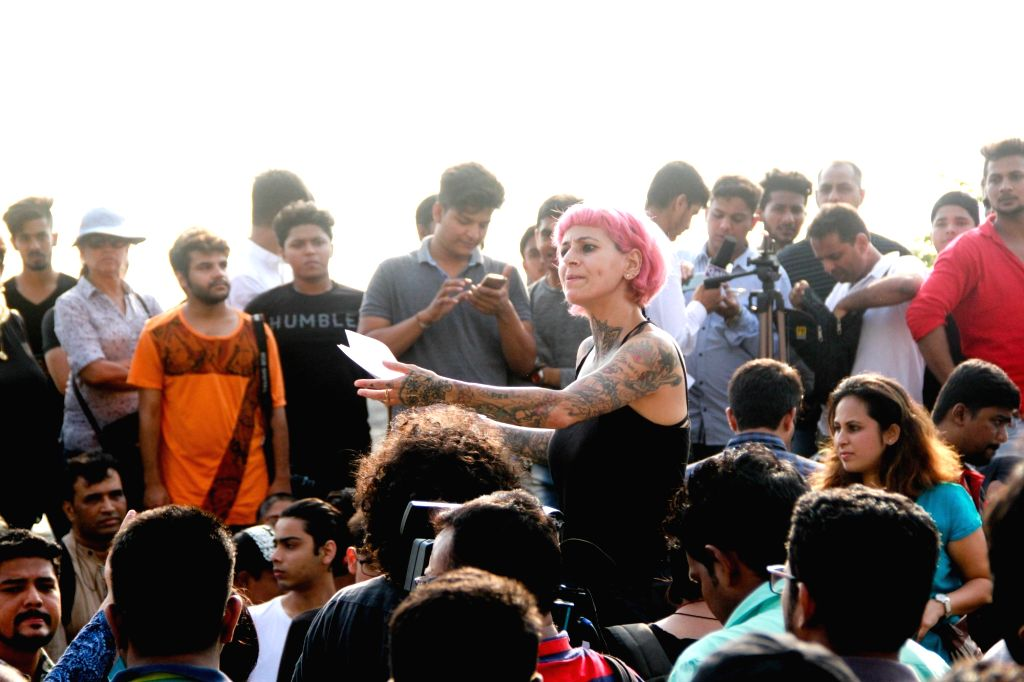 Hairstylist Sapna Bhavnani during peaceful protest against the barbaric rape and murder of an eight-year-old girl in Kathua in Jammu and Kashmir, and sexual assault of another young girl in ...
