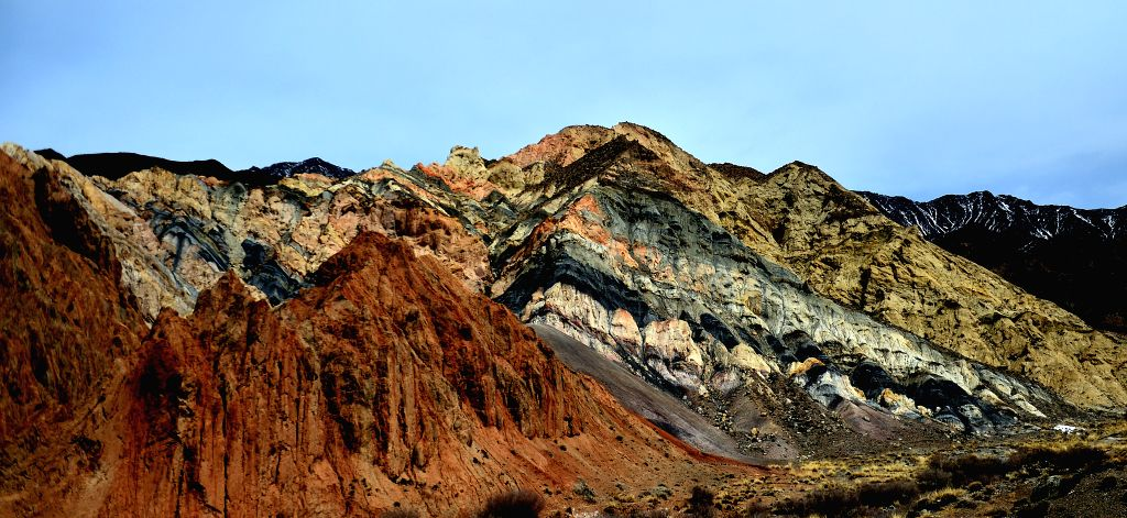 HAIXI, March 12, 2017 - Photo taken on March 11, 2017 shows colorful rocks of a mountain nearby the Da Qaidam (also known as Dachaidan) district in the Mongolian-Tibetan Autonomous Prefecture of ...