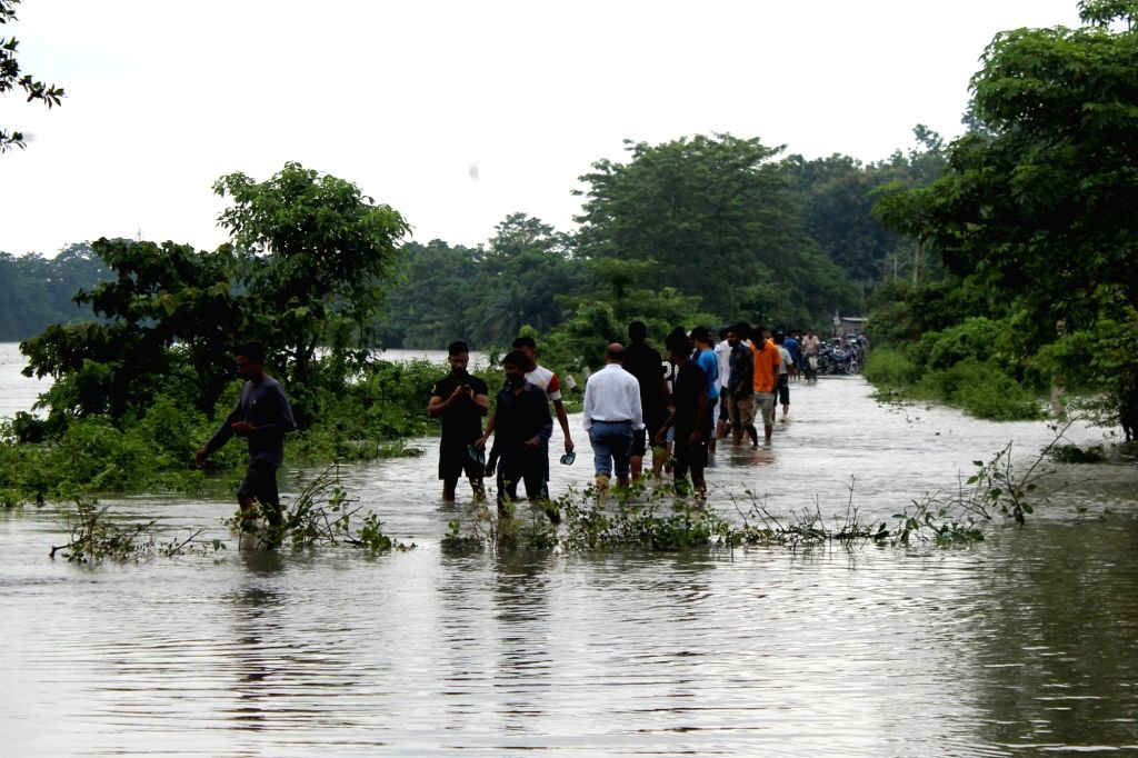 Hajo: A view of inundated Hajo in the flood affected Kamrup district of Assam, on July 12, 2019. (Photo: IANS)