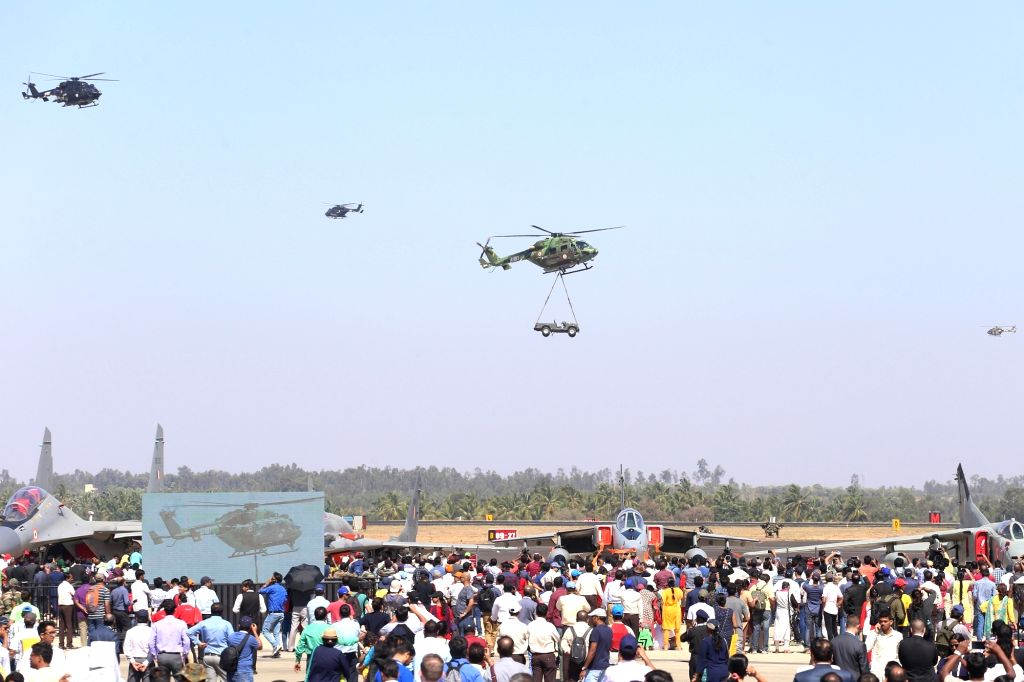 "HAL Dhruv Advance Light Helicopter (ALH) during the ""Aero India 2019"" - air show at Yelahanka Air Force Station, in Bengaluru, on Feb 22, 2019."
