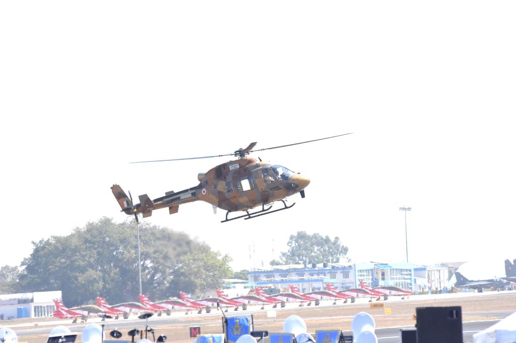 "HAL Dhruv Advance Light Helicopter during the ""Aero India 2019"" - air show at Yelahanka Air Force Station, in Bengaluru, on Feb 20, 2019."