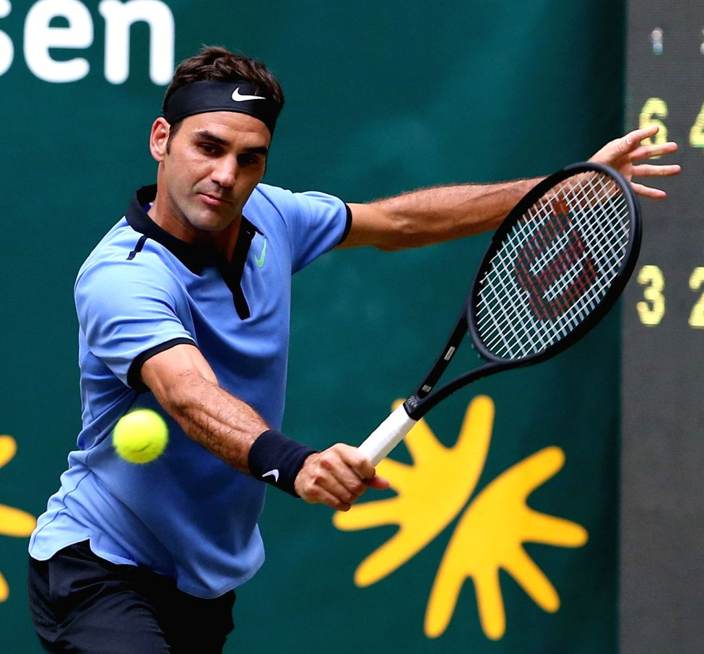 HALLE, Jun. 24, 2017 - Roger Federer of Switzerland returns the ball during the men's singles quarterfinal match against Florian Mayer of Germany in the Gerry Weber Open 2017 in Halle, Germany, on ...