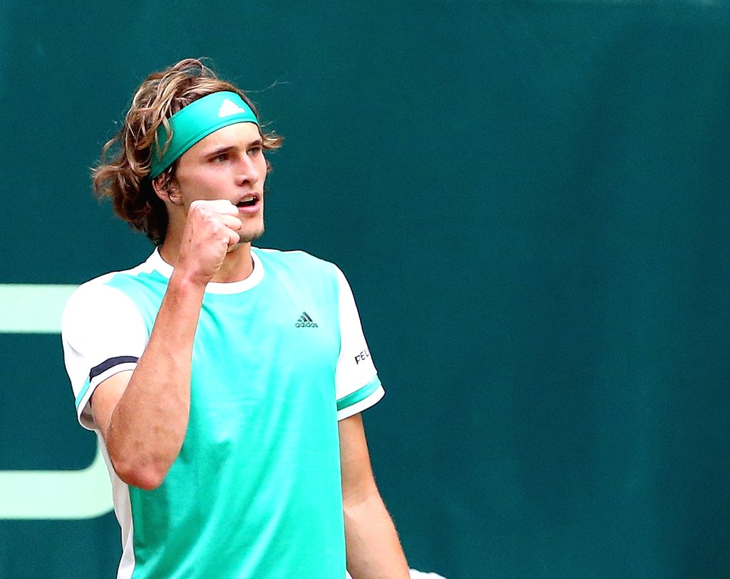 HALLE, June 23, 2017 - Alexander Zverev of Germany celebrates during the men's singles quarterfinal match against Roberto Bautista Agut of Spain in the Gerry Weber Open 2017 in Halle, Germany, on ...