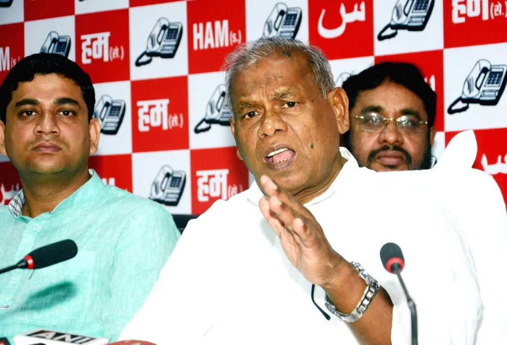 HAM leader Jitan Ram Manjhi addresses a press conference in Patna on July 17, 2016.