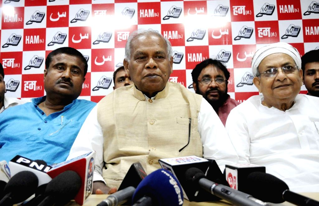 HAM leader Jitan Ram Manjhi addresses a press conference in Patna on May 16, 2017.