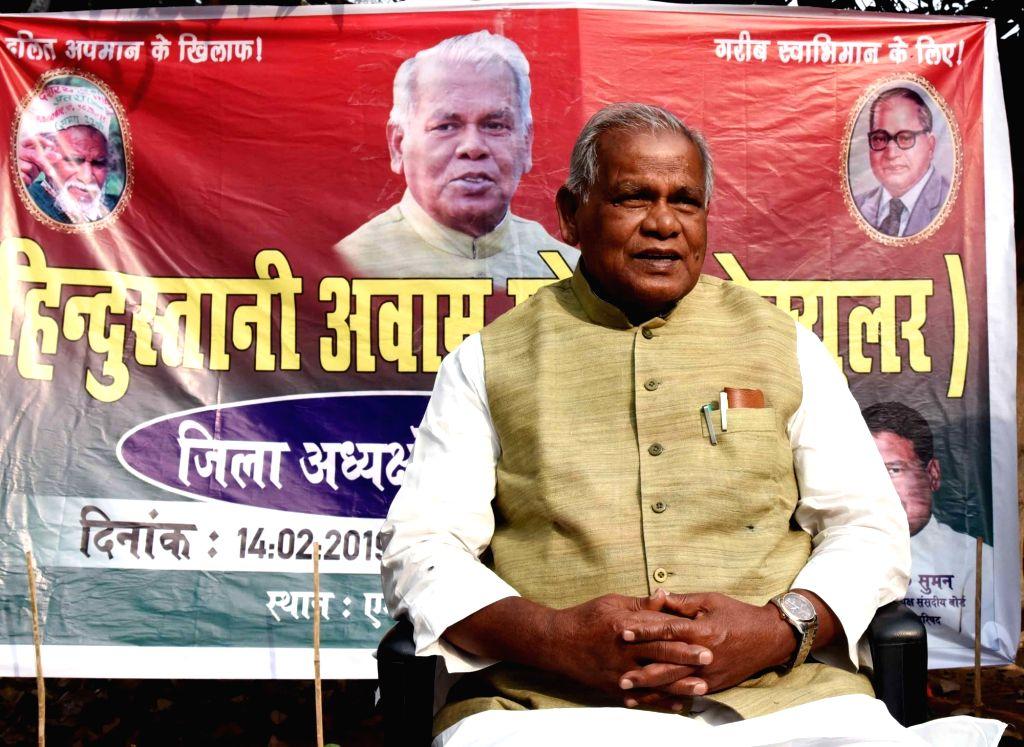 HAM leader Jitan Ram Manjhi addresses a press conference in Patna on Feb 14, 2019.