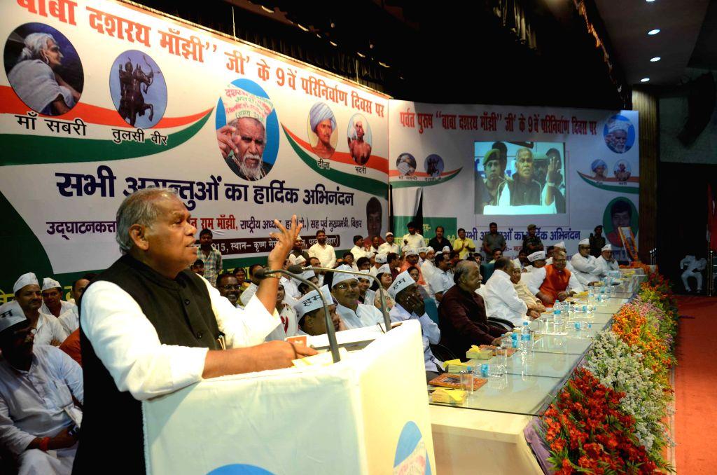 HAM leader Jitan Ram Manjhi addresses during a prograsmme in Patna, on Aug 17, 2015.